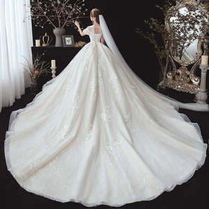 Image 3 - 구슬 장식 아플리케 레이스 짧은 소매 높은 허리 공주 공 가운 웨딩 드레스 임신 신부 플러스 크기 Aliexpress 로그인