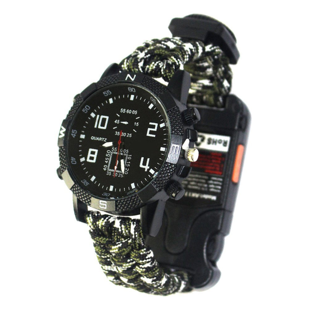 Outdoor Survival Multifunctional Watch All-in-one Watch With Compass Thermometer Whistle Umbrella Rope Woven New Arrival
