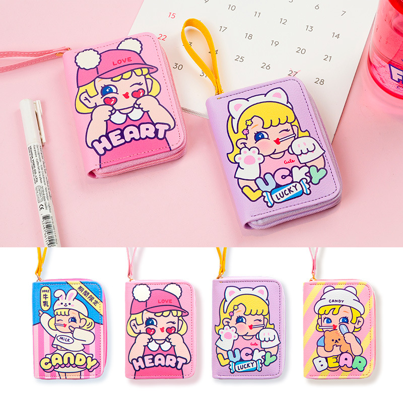 Bentoy Cute Girl Wallets Cartoon Coin Purse Large Capacity Card Holder Organizer Case Portable Women Clutch Wallets Bag
