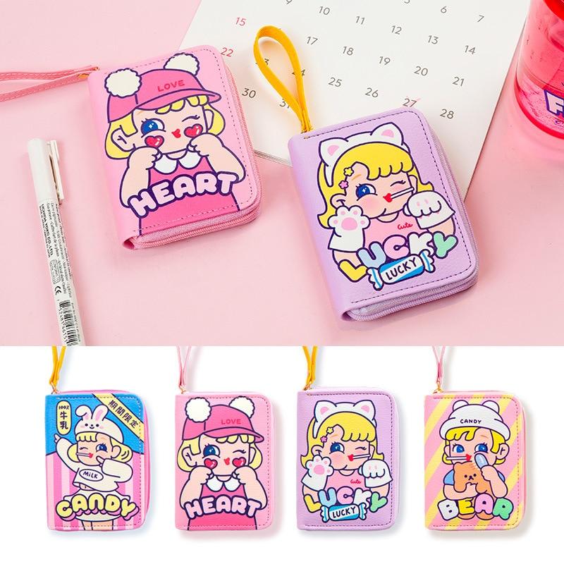 Bentoy Cute Girl Wallets Cartoon Coin Purse Large Capacity Card Holder Organizer Case Portable Women Clutch Wallets Bag
