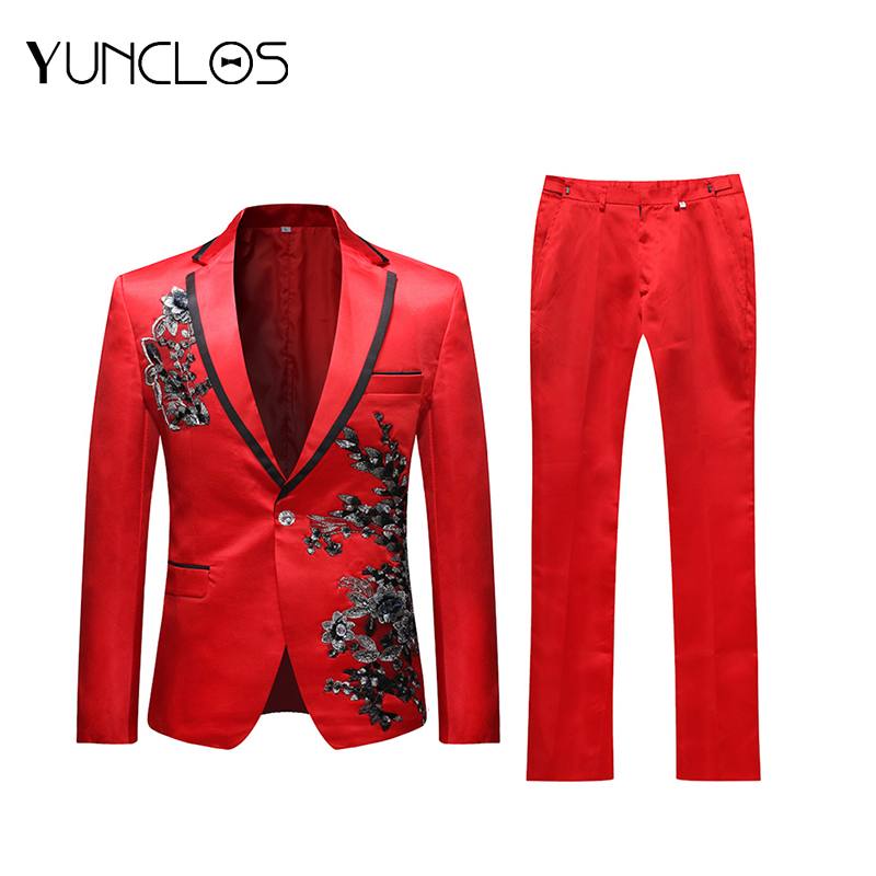 Yunclos 2019 Black Applique Red Men S Suit Wedding Party Slim Men Suits 2 Pieces Casual Single Breasted Men Suit Jacket Pant Buy At The Price Of 51 10 In Aliexpress Com Imall Com