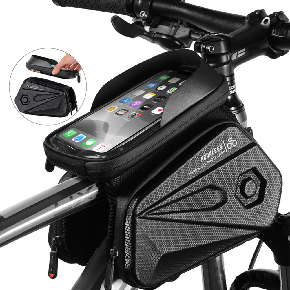 Front Frame Hard Shell Storage Bag Bicycle Saddle Bags Frame Front Tube Waterproof Phone Case MTB Cycling Equipment