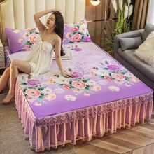 2021 Wedding 3pcs Set Floral Printing Bedspread King Queen Twin Size Thicken Ice Silk Soft Bed Skirt + 2pcs Pillowcase