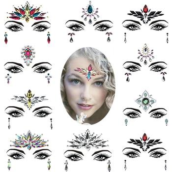 Fashion Eyebrow Face Body Art Adhesive Crystal Glitter Jewels Festival Party DIY Eye Tattoo Stickers Night Club Facial Makeup 1