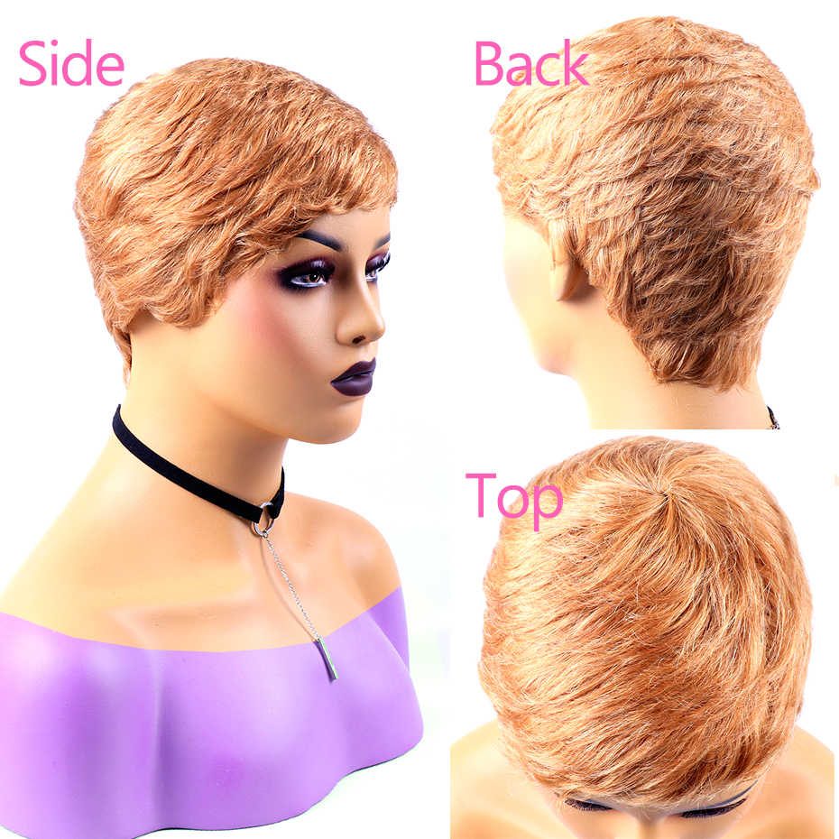 2-5-10 Stuks/partij Korte Pixie Pruiken Menselijk Haar Bulk Verkoop Natuurlijke Kleur Blond #33 Kan Mix elk Type Elke Kleur Remy Jarin Haar