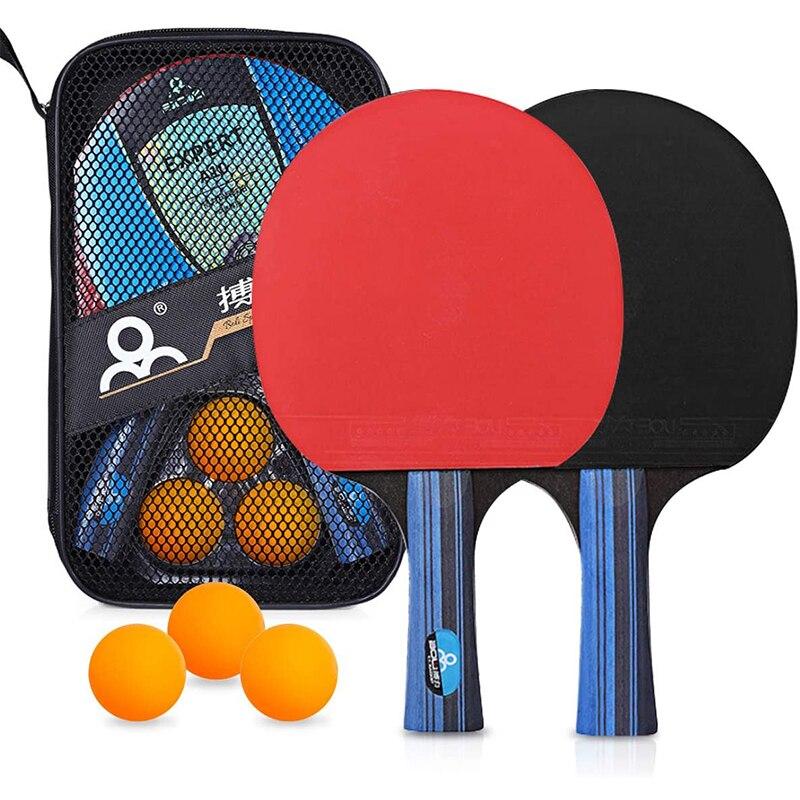 Ping Pong Paddle Set con Le Palle 2 Premium Racchette e 3 Ping Pong Palline Da Ping Pong Set con Custodia da trasporto per Amatori