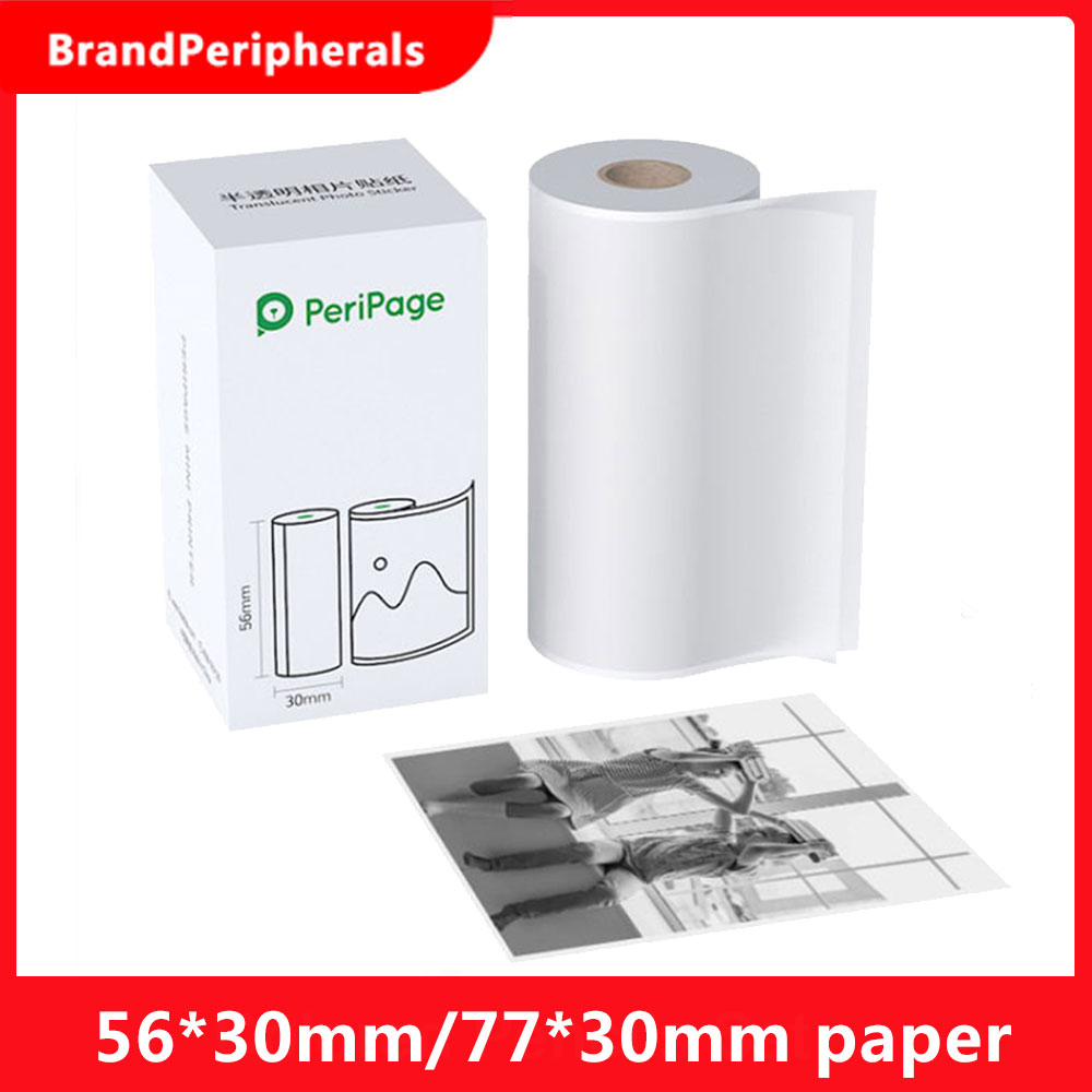 Полупрозрачная фотонаклейка PeriPage, не содержит Бисфенол А, клейкая бумага, рулон клейкой бумаги, водонепроницаемая, маслостойкая, с фрикцион...