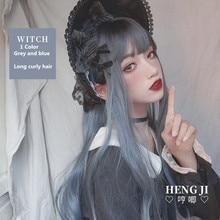 Uwowo longue perruque bouclée sale bleu perruque Cosplay Lolita perruque résistant à la chaleur cheveux synthétiques Anime fête perruques 71cm