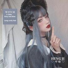 Uwowo parrucca riccia lunga parrucca blu sporca parrucca Cosplay Lolita capelli sintetici termoresistenti parrucche per feste Anime 71cm