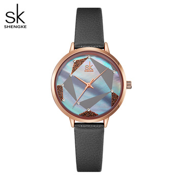 Shengke Creative Women Watches Leather Wrist Watch Reloj Mujer 2020 SK Ladies Quartz Watch Clock Montre Femme #K0117 shengke women s watches fashion leather wrist watch vintage ladies watch irregular clock mujer bayan kol saati montre feminino