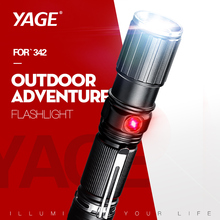 YAGE 342C T6 2000LM Aluminum Zoom CREE 18650 White/Red light Two Lamps USB Torch Light for 1*18650 or 4*AAA/1*26650 Battery