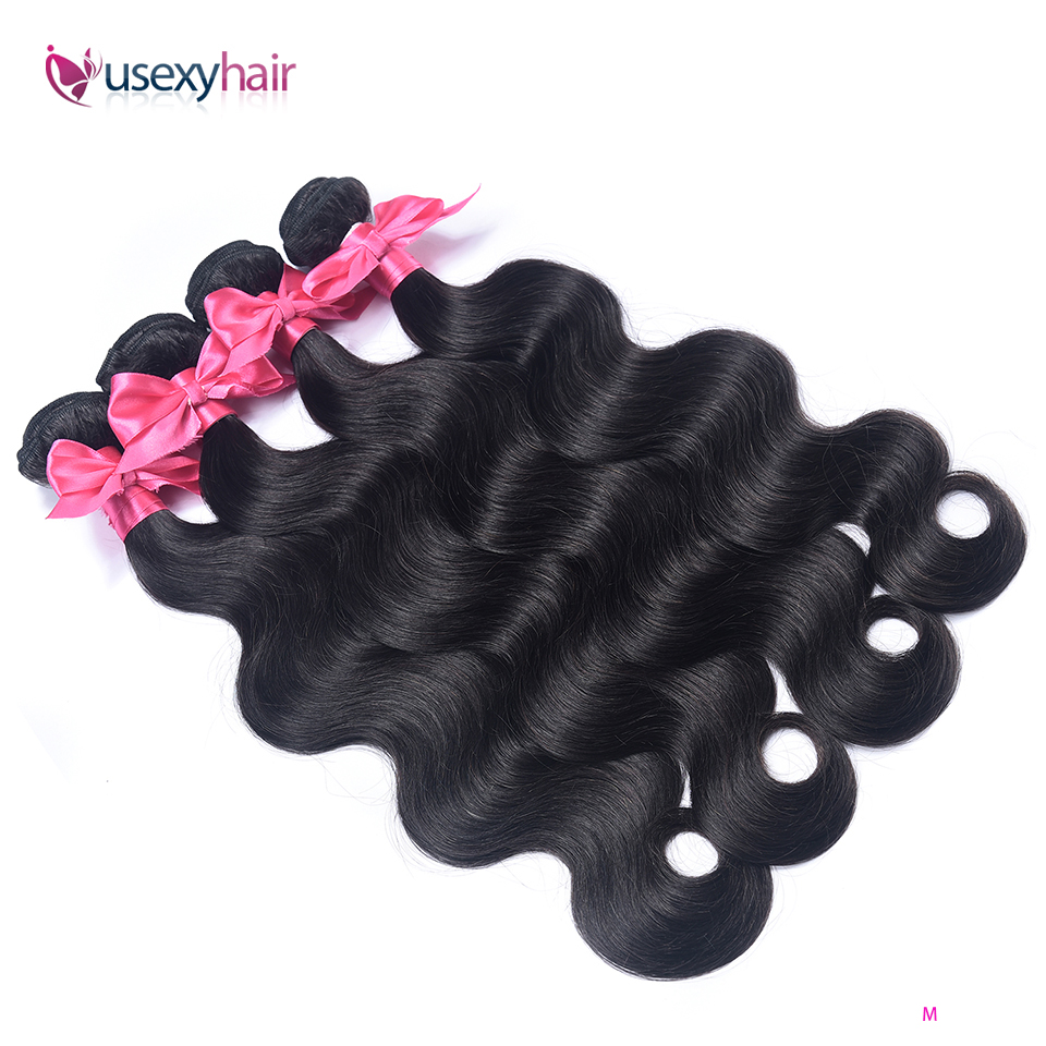 USEXY Body Wave Bundles Remy Hair 3 Bundle Deal Peruvian Hair 30 Inch Bundles Natural Color Hair Extensions