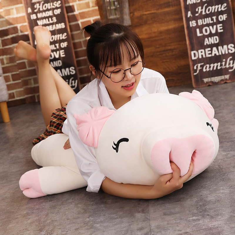 Lovely Pig Stuffed Doll Lying Plush Piggy Toy White/Pink Animals Soft Plushie Hand Warmer Blanket Kids Comforting Gift