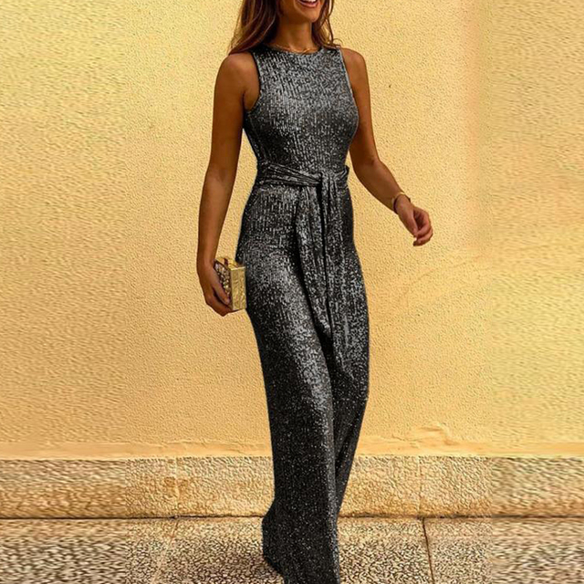 Spring Women Glitter Jumpsuit Sexy Backless Bandage Romper Overall Summer Sleeveless Shiny Belt Party Playsuit Bodysuit Clubwear 4