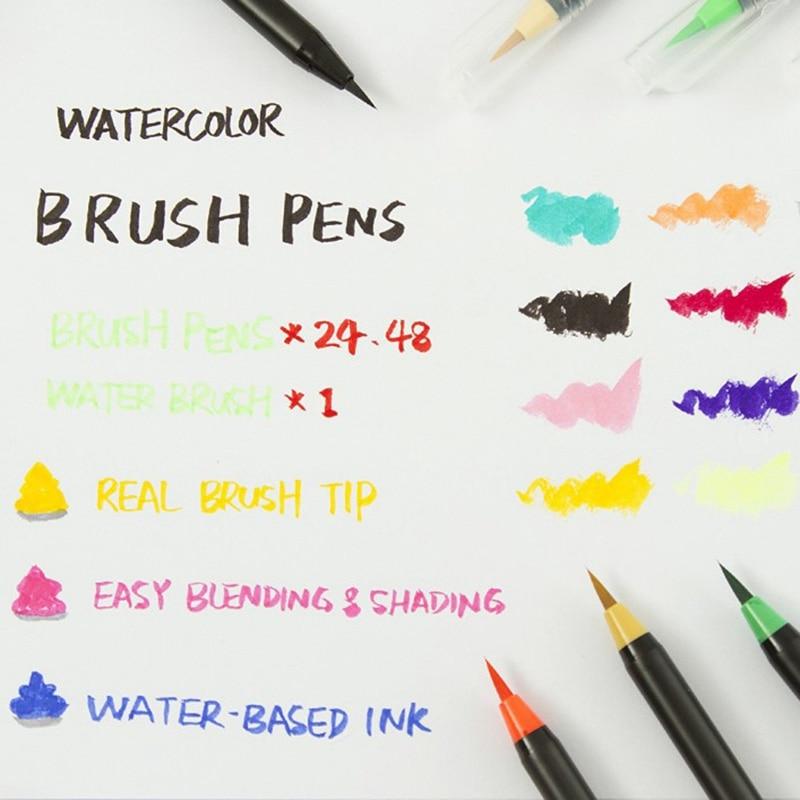 48 cores aquarela escova canetas marcador de 01