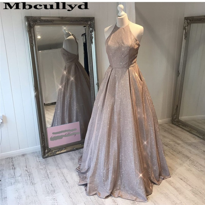 Mbcullyd Stunning Sequined Prom Dresses Long 2020 Backless Evening Party Dress With Pocket vestidos de fiesta largos elegant