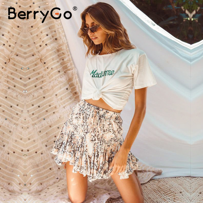 BerryGo Sexy Leopard Chiffon Skirts Womens Summer Beach High Waist Mini Skirts Casual Bow Elastic Ruffles Feminino Short Skirt