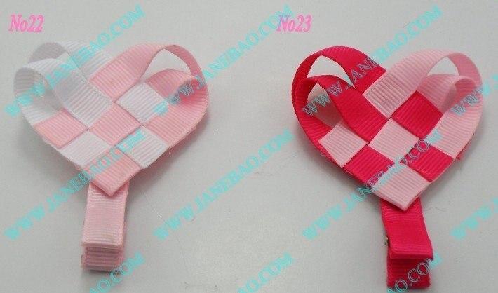 50 шт. бант для волос для девочек клипсы сердце любовь на День святого Валентина