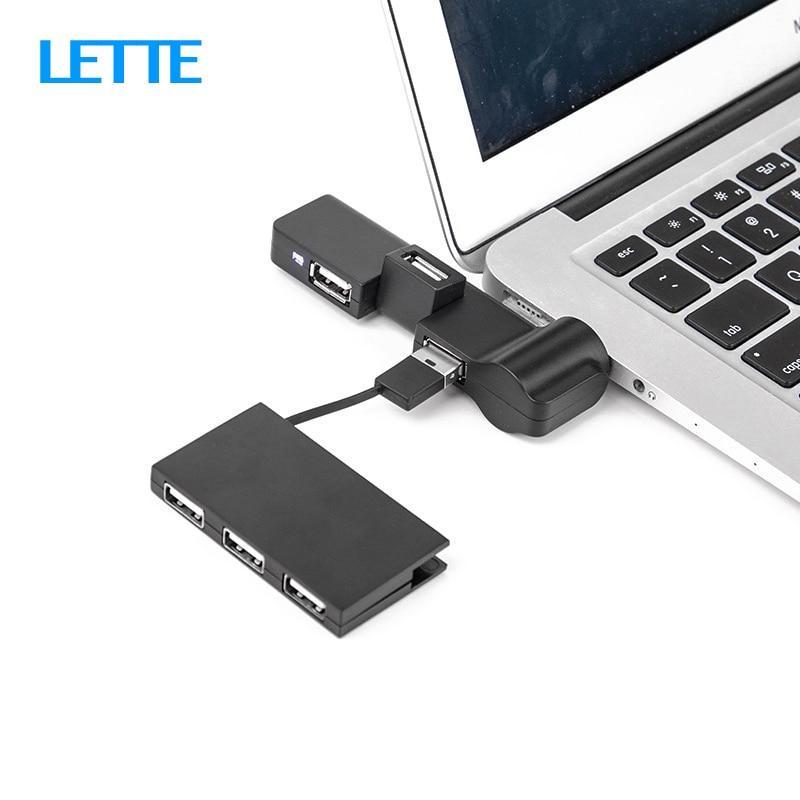 Rotate USB HUB 4 Port USB 2.0 Splitter Straight Insertion Portable Slim HUB for iMac Desktop Laptop OTG Adapter