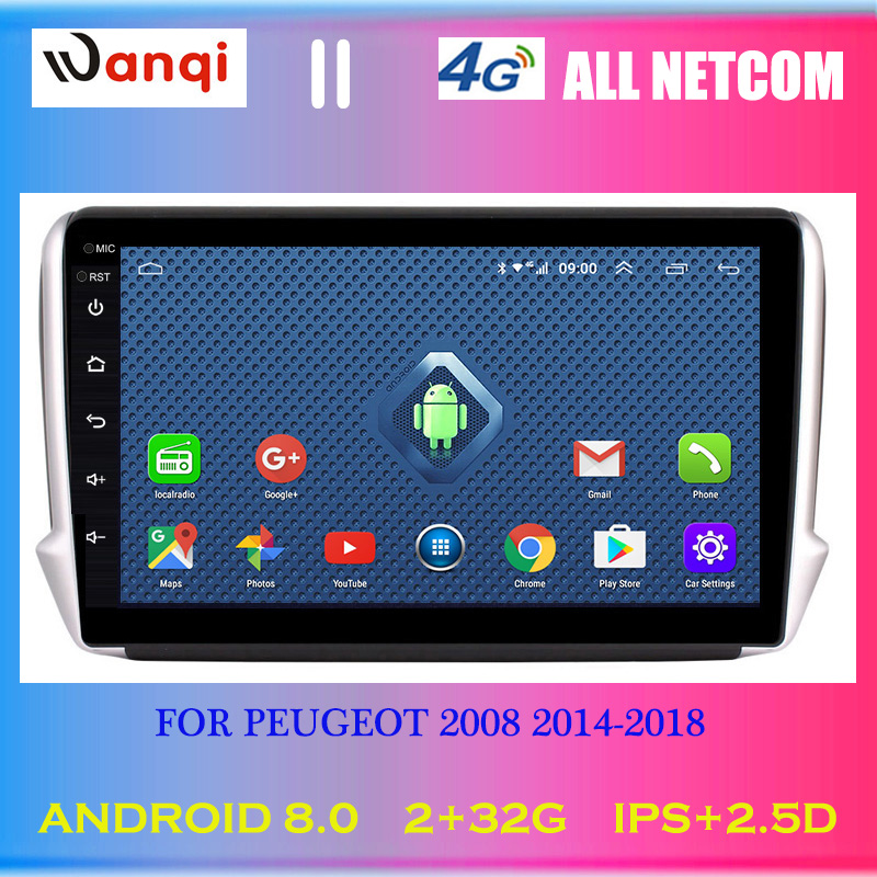4G Lte All Netcom 10.1 inch Android 8.0 Car GPS Multimedia For <font><b>Peugeot</b></font> 2008 <font><b>208</b></font> series 2014-2018 Navigation Player image