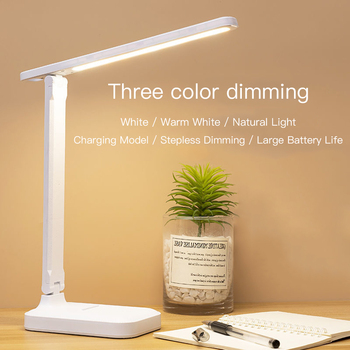 Led Desk Lamp 3 Color Stepless Dimmable Touch Foldable Table Lamp Bedside Reading Eye Protection Night Light DC5V USB Chargeable 1