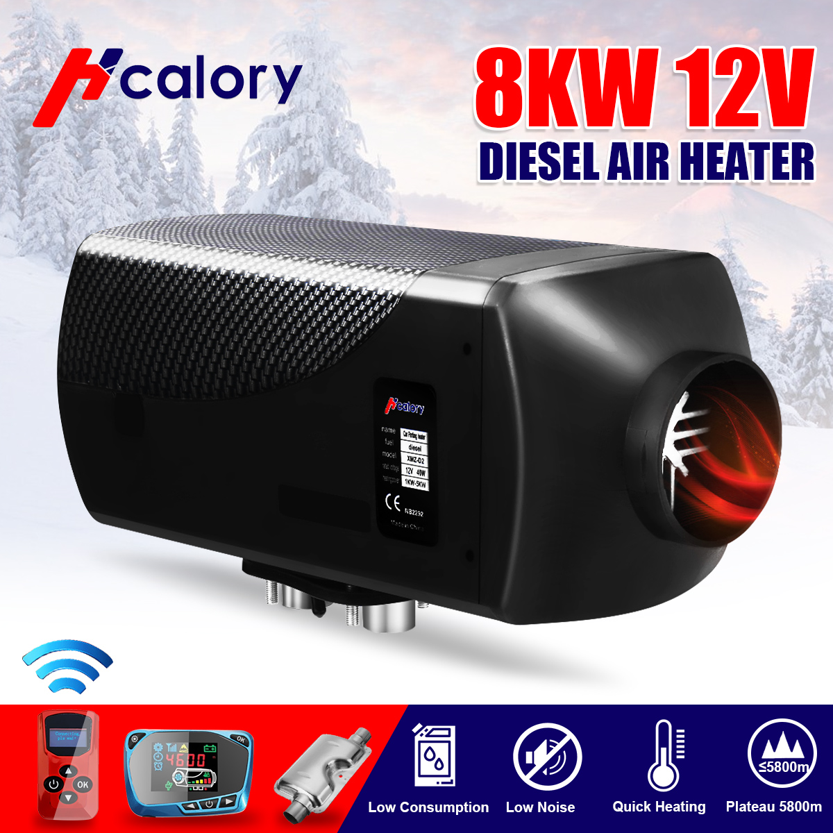 HCalory 12V 8KW Diesels Air Car Heater Silencer <font><b>15L</b></font> <font><b>Tank</b></font> Car Truck Boat Motorhome Parking With Remote Control LCD Monitor image
