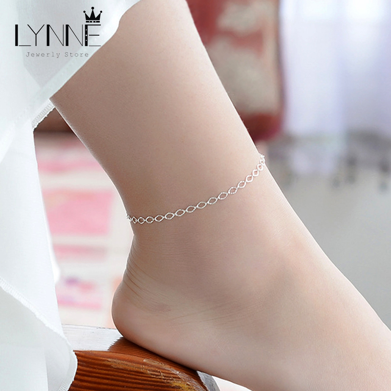New Fashion Exquisite Small Egg Shaped Ankle Chains 925 Sterling Silver Simple Chain Anklets For Women Jewelry Anklet Bracelet 1