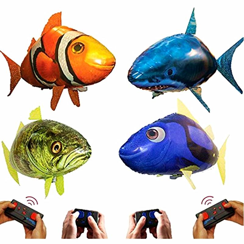 Control remoto, tiburón volador, pez payaso, juguetes para nadar en el aire, pez volador por infrarrojos a Control remoto, globos de aire para niños, regalos decoración fiesta