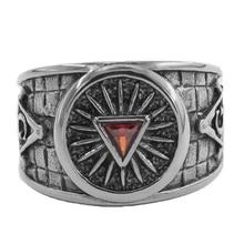 Ретро масонское кольцо с треугольными глазами покрытое красным цирконием стальным кристаллом кольцо в стиле панк Бесплатный символ масонов Тамплиер унисекс украшения с масонской символикой