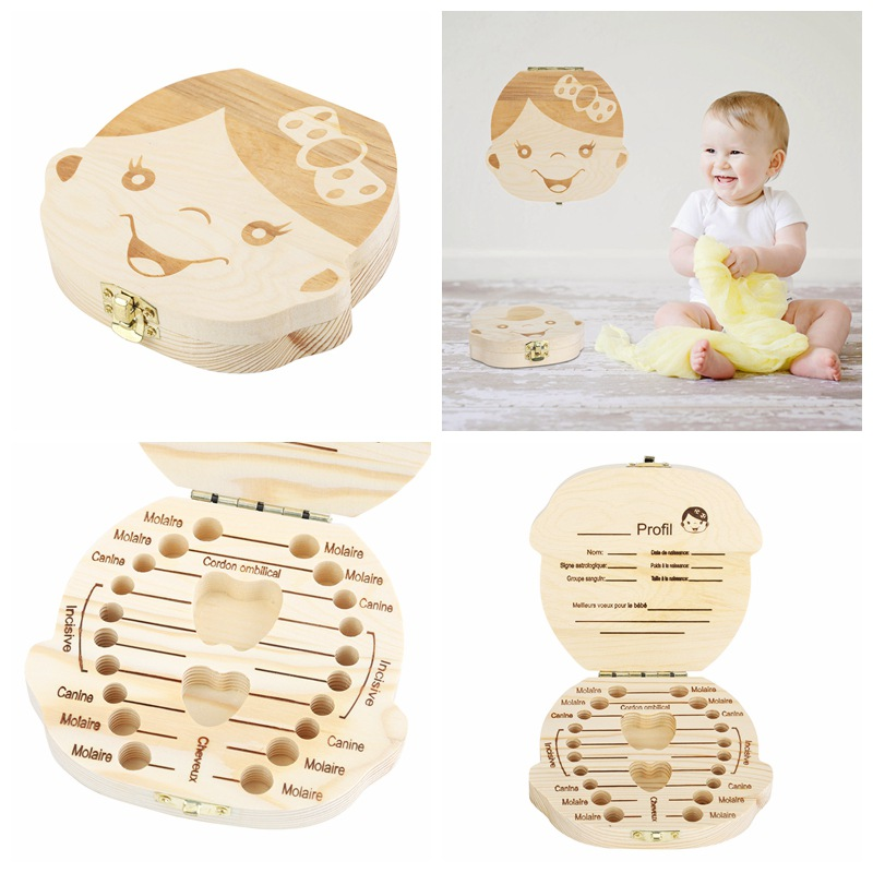 Newborn Baby Tooth Keepsake Box, Wooden First Tooth Deciduous Teeth Saver Boxes Container For Child Kids