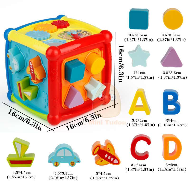 다기능 뮤지컬 완구 유아 아기 상자 음악 전자 완구 기어 시계 기하학 블록 교육 완구 정렬