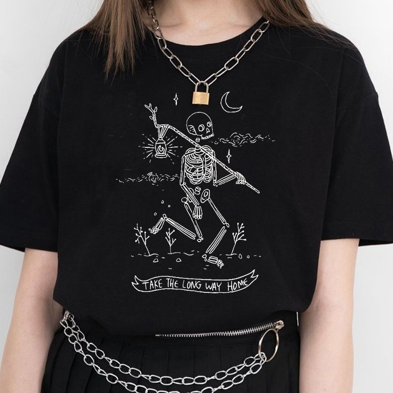 Kuakuayu HJN Women Skeleton T-Shirt Take The Long Way Home Letter Print Top Tumblr Grunge Aesthetic Black Tee Hipster
