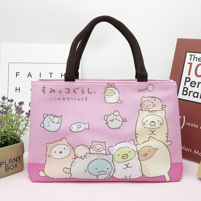 Sumikko Gurashi San-X Corner Bio Anime Printing Cute Cartoon PU Leather Double Zipper Storage Handbag Women Shopping Tote Bag