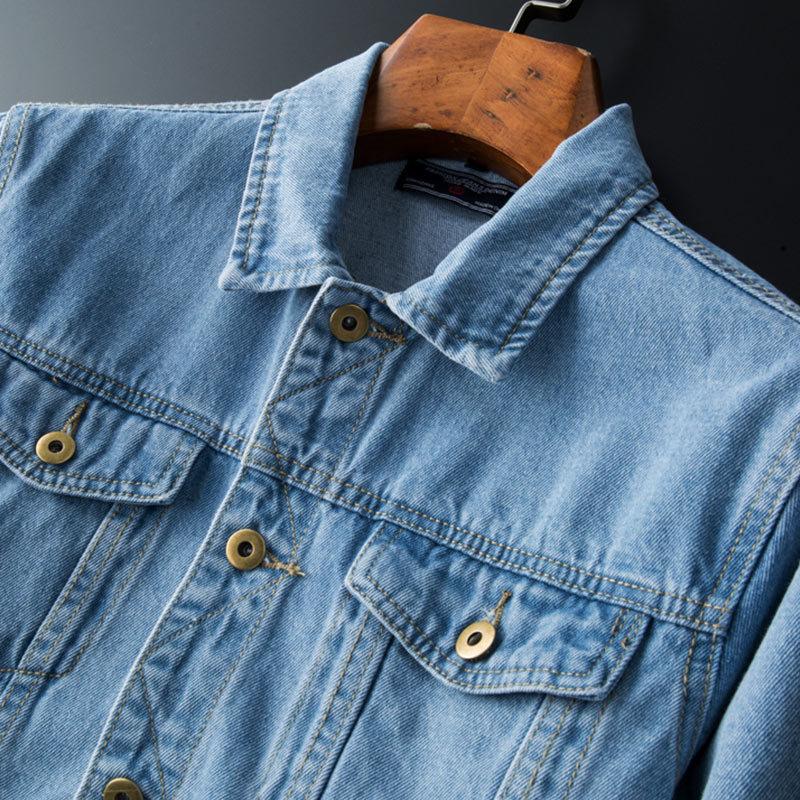 2020 Men's Autumn New Light Pockets Denim Jacket Adolescents Wild Simple Lapel Slim Fit Jacket