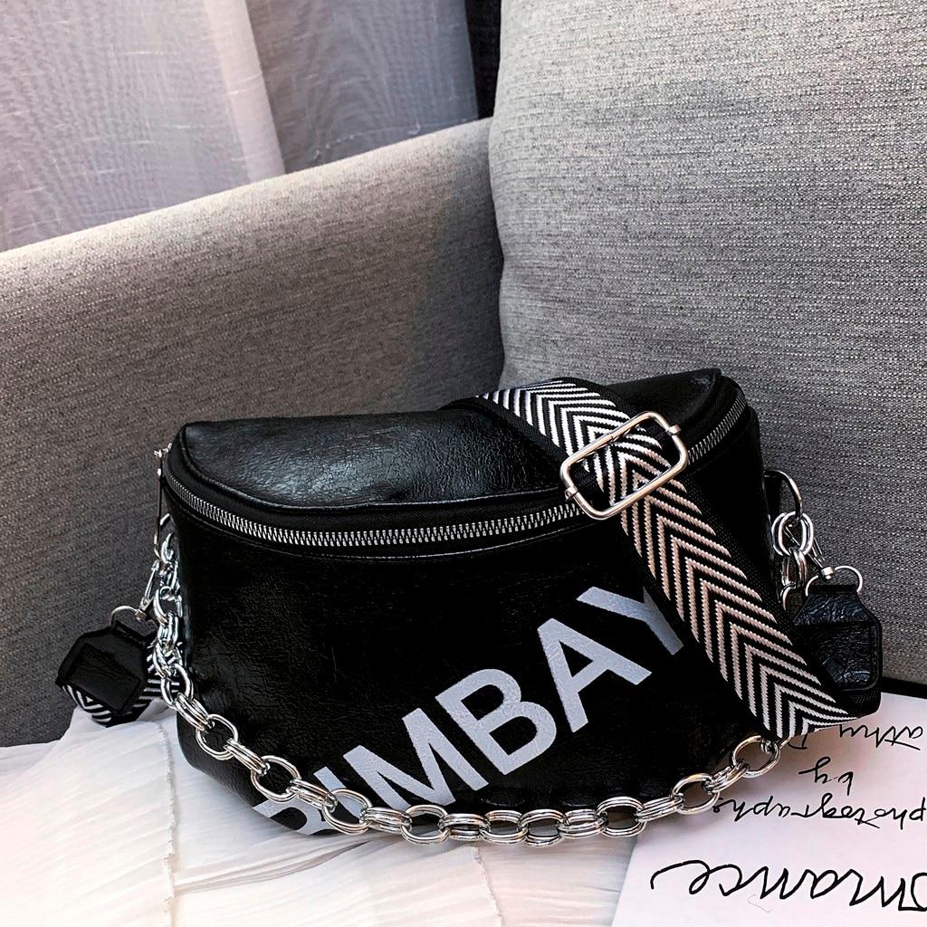 2019 New Fashion Women's Leather Waist Bag Zip Large Capacity Shoulder Messenger Bag Waist Belt Chest Bag Fanny Pack