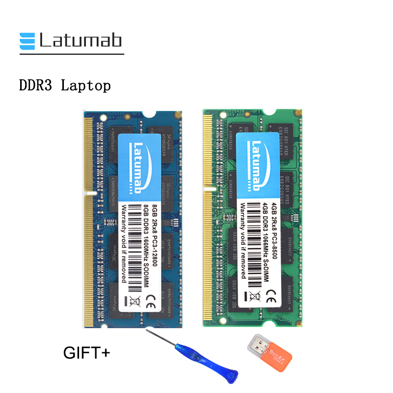 Latumab 4GB 8GB 16GB DDR3 1066mhz 1600MHZ PC3 8500 Laptop Memory SoDimm Memory Ram 204 Pins High Quality Notebook Module SODIMM