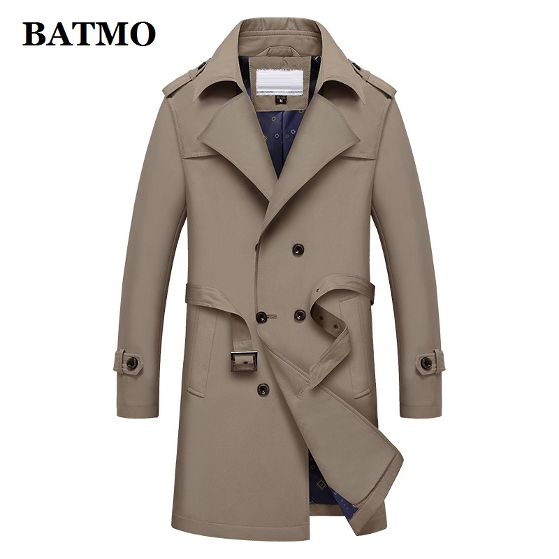 BATMO 2021 new arrival spring high quality casual double dreasted trench coat men,plus-size M-4XL 1911