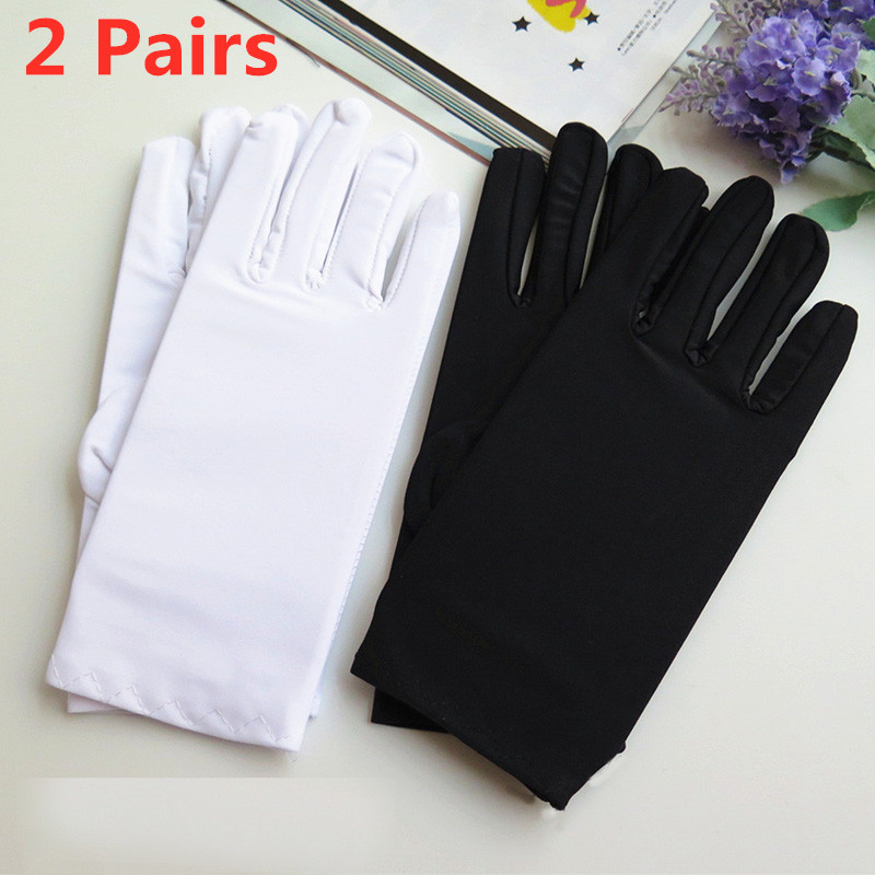 Howfits 2 Pairs Driving Black White Dance Jewelry Gloves Women Men Sun Against UV Summer Gloves Elastic Etiquette Spandex