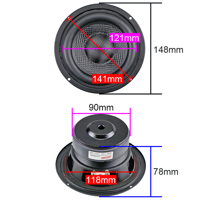 5.25 inch Subwoofer Speaker Fiberglass 4OHM 60W 1PC 2