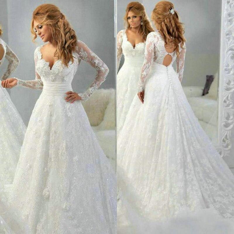 Elegant A-Line Long sleeve Lace appliques Sexy Vestido de noiva Bridal gown 2018 robe de mariee mother of the bride dresses