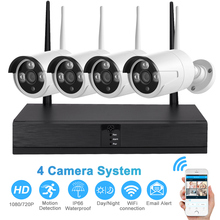 720/1080P Wireless Video Surveillance Security System Kit With 4pcs IP Waterproof Camera Outdoor Night Vision EU/UK/US/AU Plug