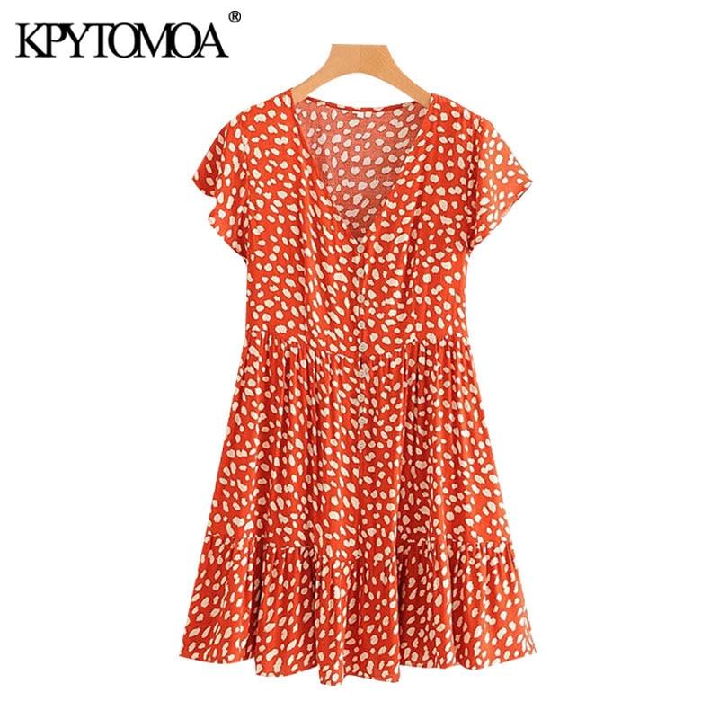 KPYTOMOA Women 2020 Chic Fashion Leopard Print Ruffles Mini Dress Vintage V Neck Short Sleeve Female Dresses Vestidos Mujer