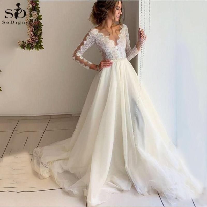vestidos de novia 2020 A-line Wedding Dresses V neck Long Sleeves Bridal Dress Lace Princess Wedding Gowns With Belt plus size