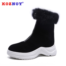 Koznoy Women Boots Thick Bottom Dropshipping Flat Winter Fashion Zipper Platform Resistant Breathable Leisure
