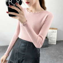 Fashion and leisure ladys long sleeve knitted sweater with slim figure in autumn winter