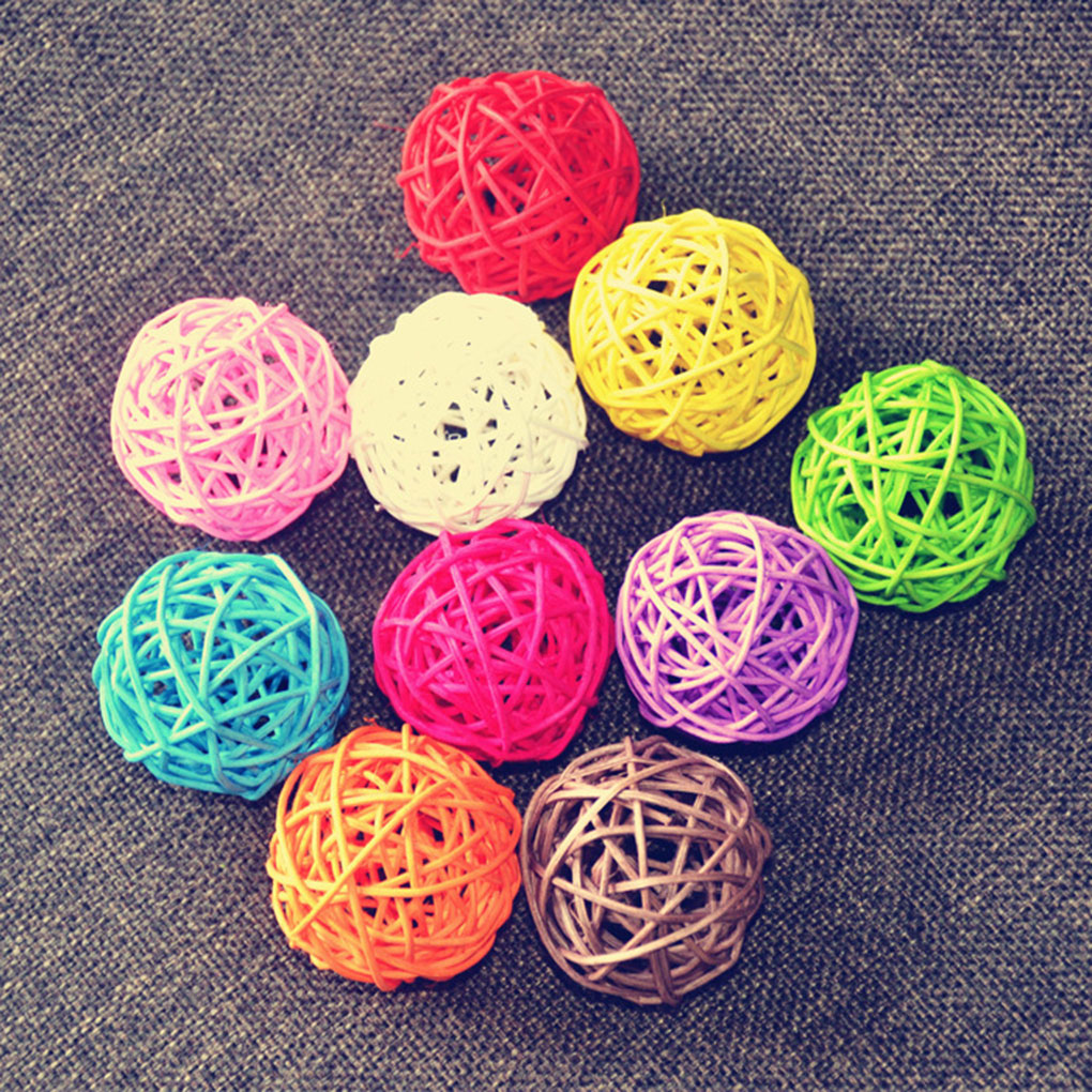 10pcs 3cm Artificial Straw Ball Wedding Home Christmas Decoration Rattan Ball DIY Curtain Hanging Accessories