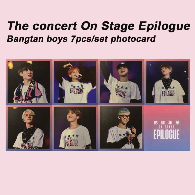 7pcs/set Kpop Bangtan Boys Photocard On Stage Epilogue Concert Album Poster HD Photo Card For Fans Collection KPOP Bangtan Boys