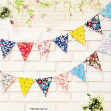 1 Uds. Banderas de impresión de flores Vintage, banderín de tela hecho a mano, banderín de cumpleaños, boda, Baby Shower, banderín de Festival, banderín de cuerda