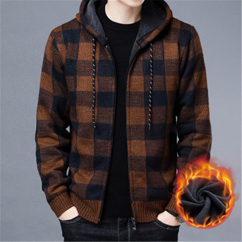 2021 autumn and winter plus velvet Korean knit cardigan loose hooded plaid casual long-sleeved youth fluffy jacket jacket