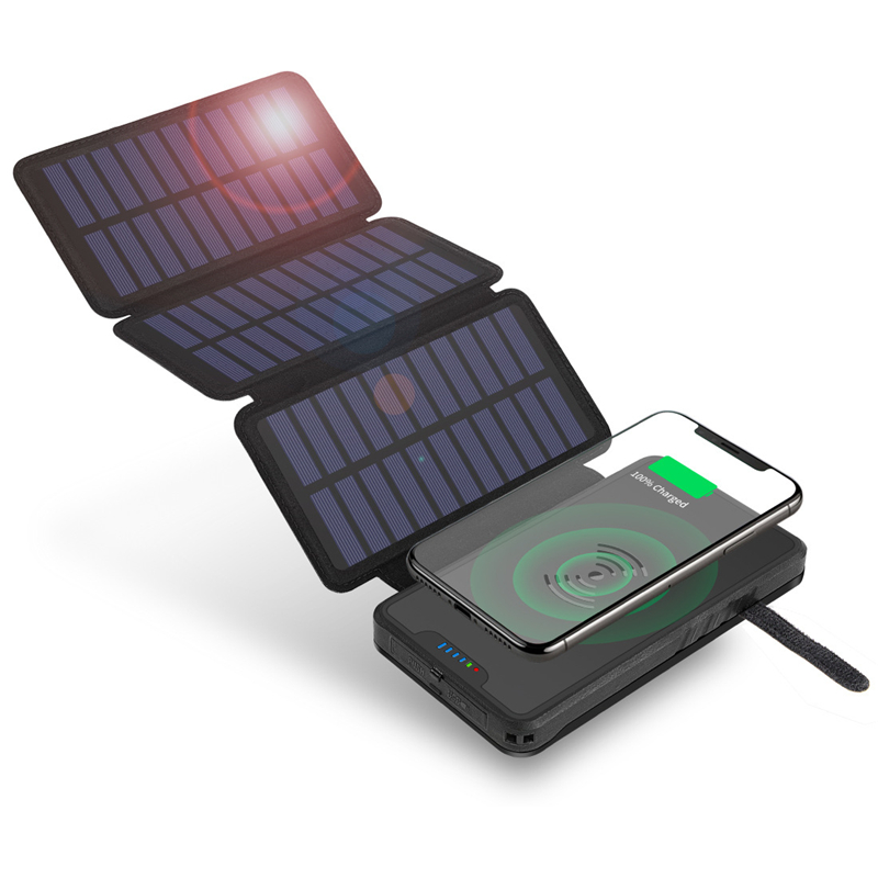 20000mAh Foldable Solar Power Bank Qi Wireless Charger For iPhone Samsung Xiaomi Powerbank Waterproof Poverbank with Flashlight